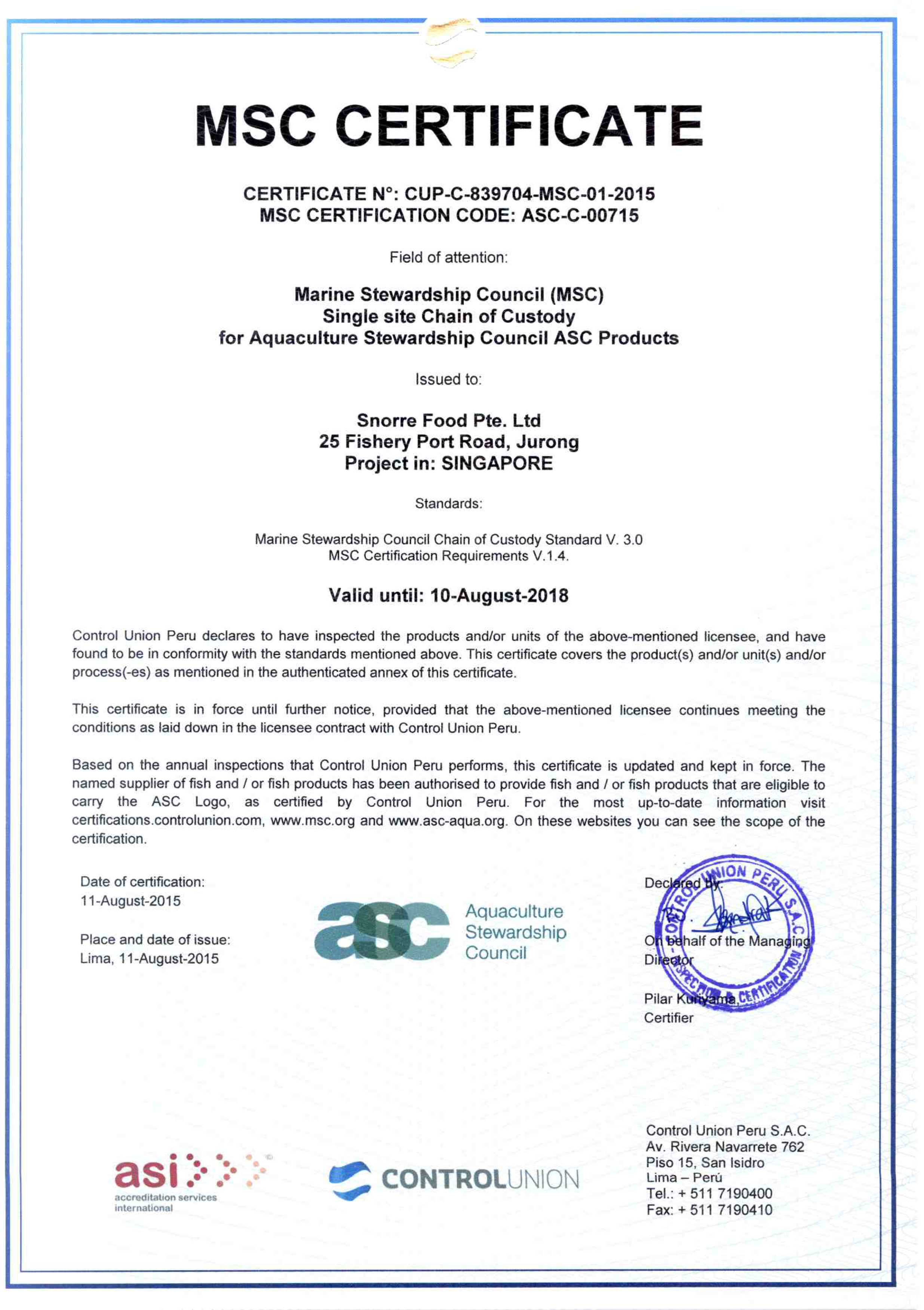 Our certification snorre food pte ltd msccertificate11082015 1 xflitez Image collections